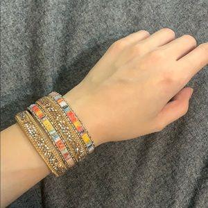 Express stripe stone turn lock cuff bracelet